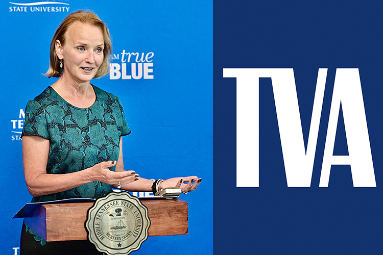 Former Tennessee House Speaker Beth Harwell is shown in the MTSU Student Union Sept. 24, 2019; at right is the Tennessee Valley Authority's logo. (MTSU file photo by Andy Heidt)
