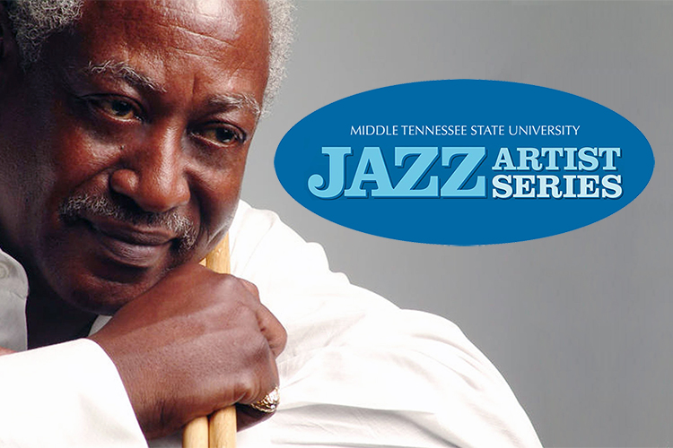 photo of jazz drummer Roger Humphries with the MTSU Jazz Artist Series logo (photo by Ahmed Sandidge/roberthumphriesband.com)