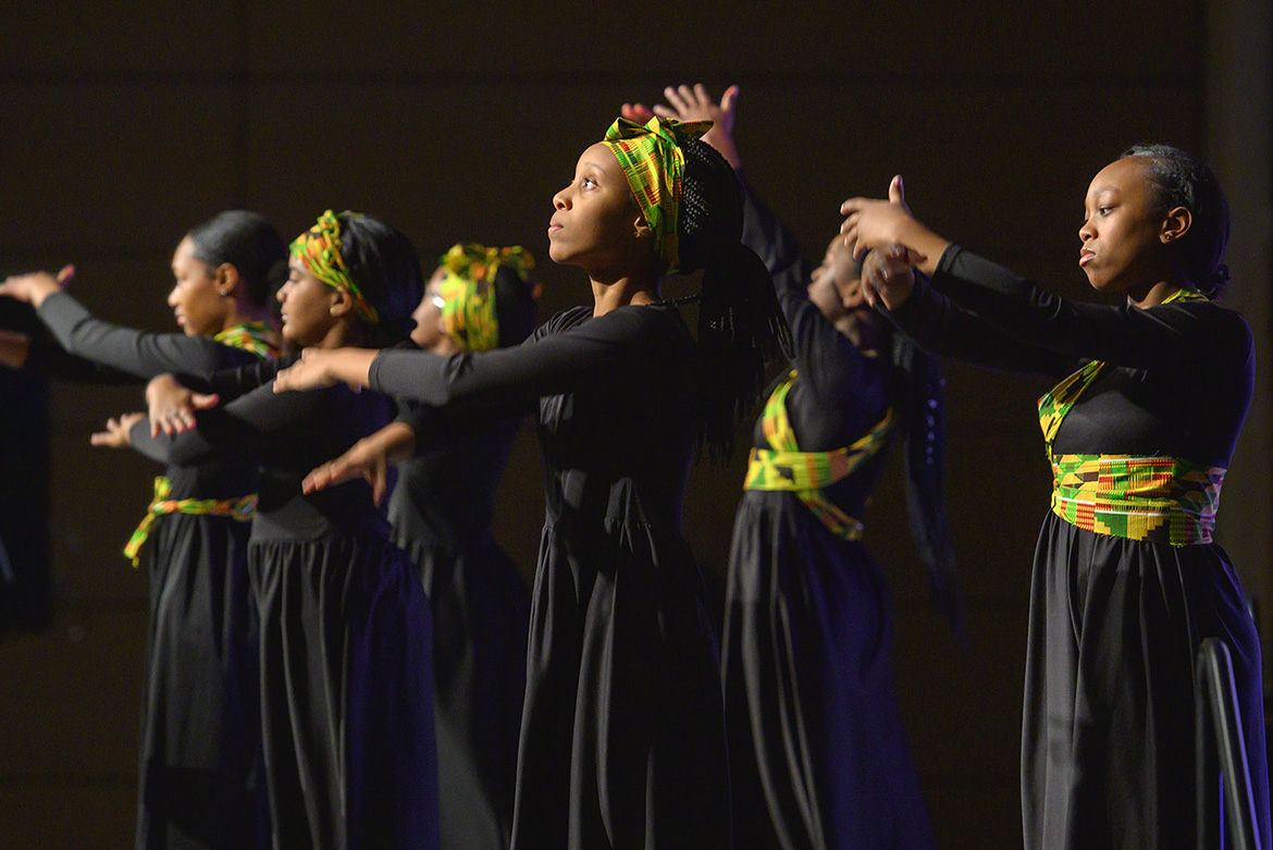 Members of the First Baptist Church Youth Group perform a dance tribute Monday, Jan. 20, at the 2020 Martin Luther King Jr. Day Candlelight Vigil hosted by Middle Tennessee State University inside the Student Union Ballroom. (MTSU photo by Cat Curtis Murphy)