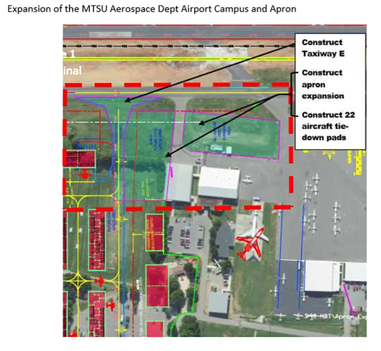 This map shows the proposed expansion of the apron next to MTSU Airport Campus at the Murfreesboro Municipal Airport. The city of Murfreesboro announced that it has received a $1 million economic development grant to fund the expansion to accommodate the grown of the university's Aerospace Department. (Courtesy of the city of Murfreesboro)