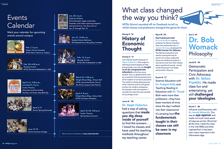 These are two of the new features — Events on the left and #MyMTStory at right — unveiled in the newly redesigned MTSU magazine recently distributed to the university roughly 130,000 living alumni.