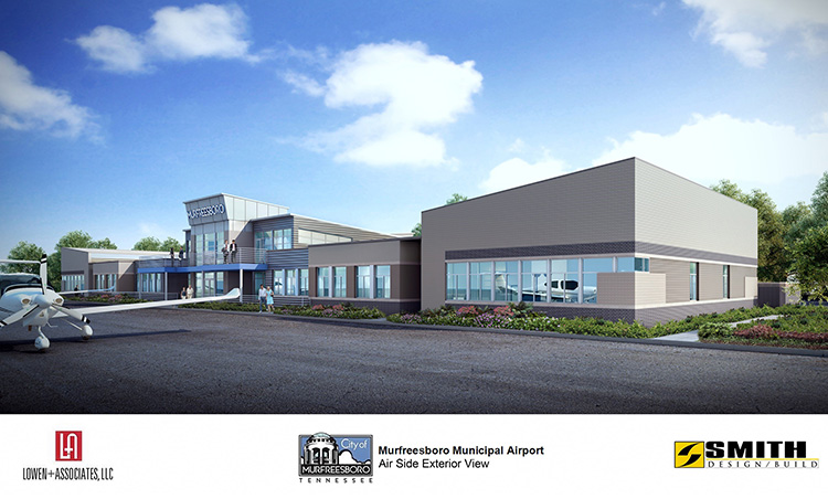 This artist rendering shows an exterior view of the new Murfreesboro Municipal Airport Terminal under construction. The $4.5 million project is expected to be finished in August 2020. (Courtesy of Lowen+Associates LLC)