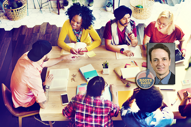 photo of MTSU management professor Dan Morrell and the WMOT-FM Roots Radio 89.5 logo superimposed over a stock photo of a diverse group of young people (of millennial age) seated around a table, talking, with notepads, phones, books, pens and other workplace necessities in front of them