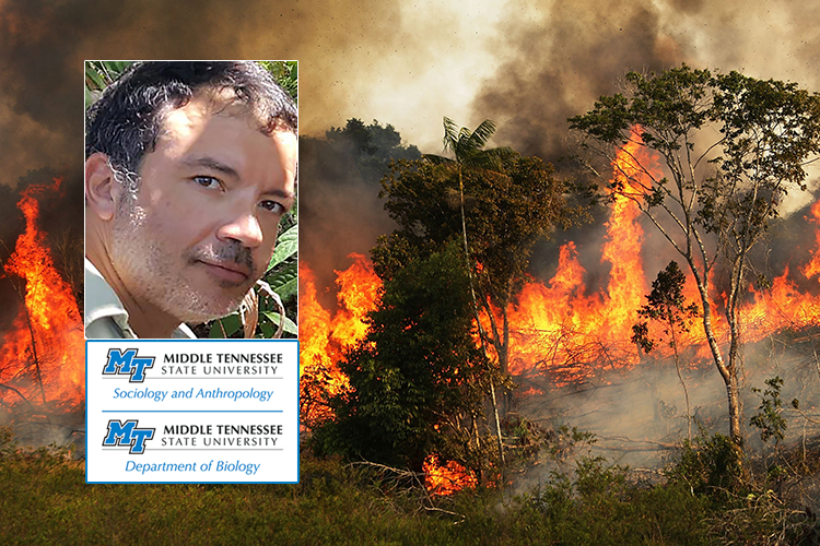 photo of MTSU guest speaker Dr. Juarez Pezzuti and the logos for the university's Department of Sociology and Anthropology and the Department of Biology inset into a wire photo of the Amazon rainforest on fire (photo supplied by MTSU Department of Sociology and Anthropology)