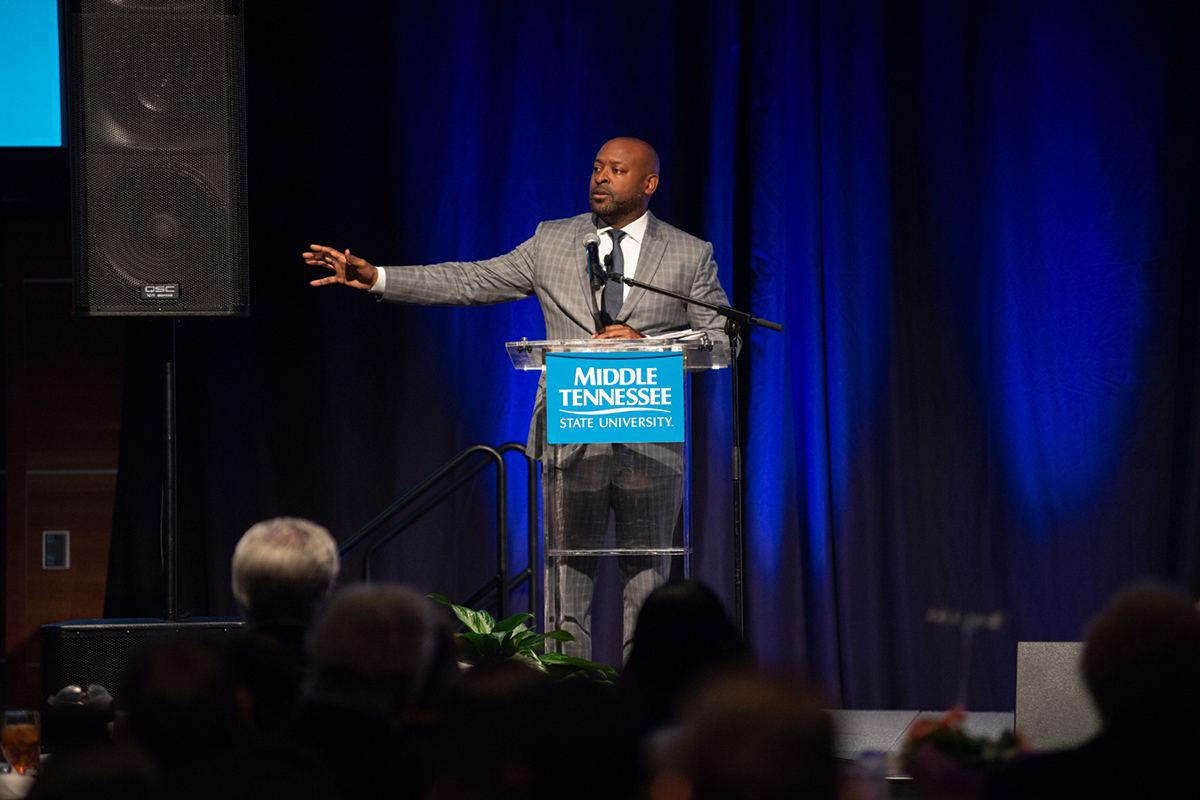 Rev. James McCarroll, pastor of First Baptist Church on East Castle Street in Murfreesboro, delivers a powerful message during the 24th annual Unity Luncheon at MTSU in the Student Union Ballroom. (MTSU photo by James Cessna)