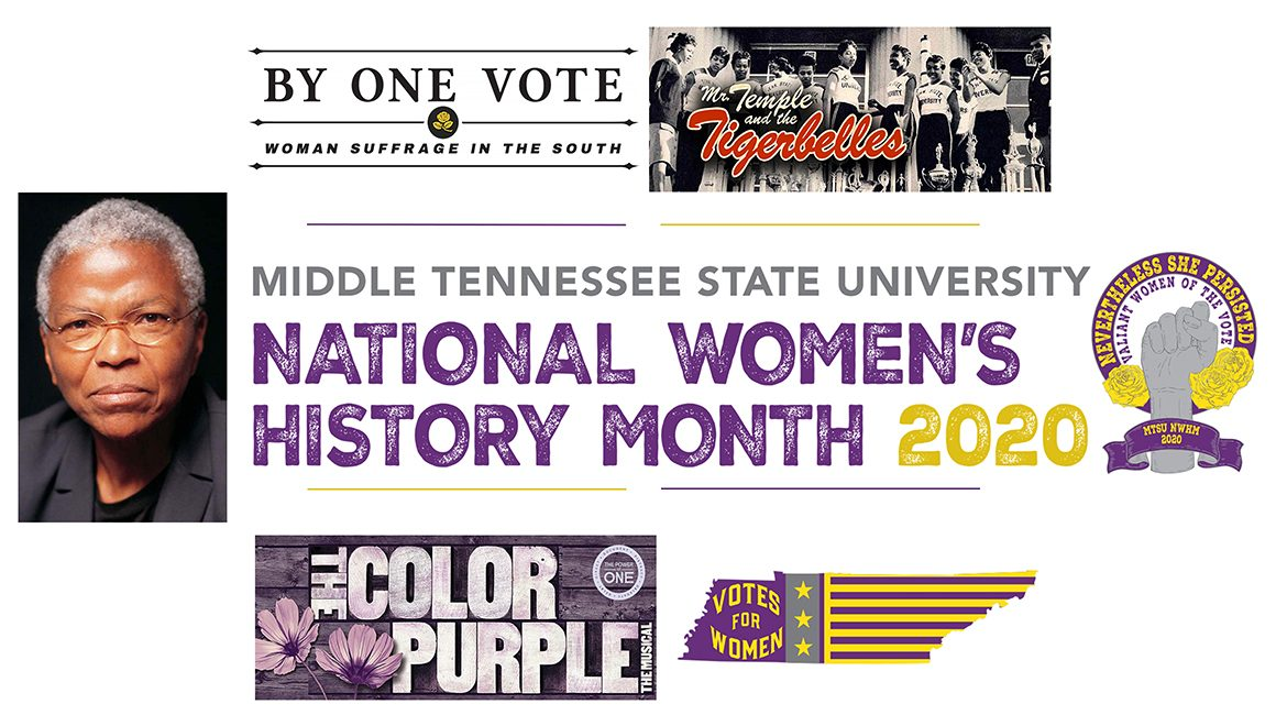 """MTSU 2020 National Women's History Month promo, featuring a photo of keynote speaker Dr. Mary Frances Berry, the NWHM logo & logos for the NPT """"By One Vote"""" & """"Mr. Temple & the Tigerbelles"""" documentaries & the MTSU Power of One screening & discussion of """"The Color Purple"""""""