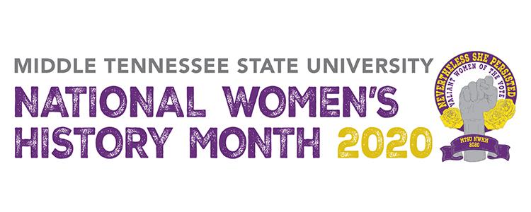 MTSU 2020 National Women's History Month header logo