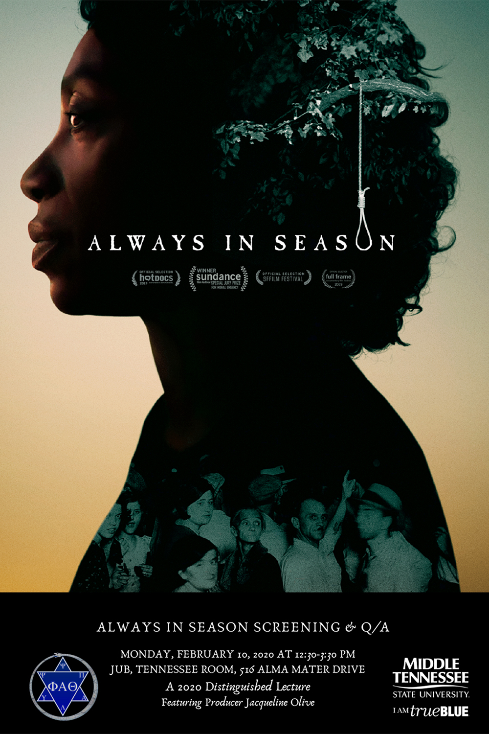 """poster for Feb. 10, 2020, screening and Q&A with Jacqueline Olive, director and co-producer of the award-winning documentary """"Always in Season"""""""