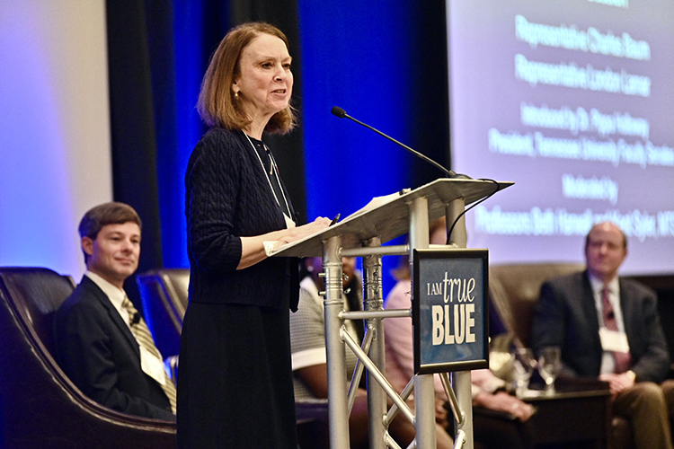 Mary Evins, an associate professor of history in the University Honors College and coordinator of MTSU's American Democracy Project, introduces a voting panel held Friday, Feb. 21, in the Student Union Ballroom as part of the Middle Tennessee Campus Civic Summit 2020. (MTSU photo by J. Intintoli)