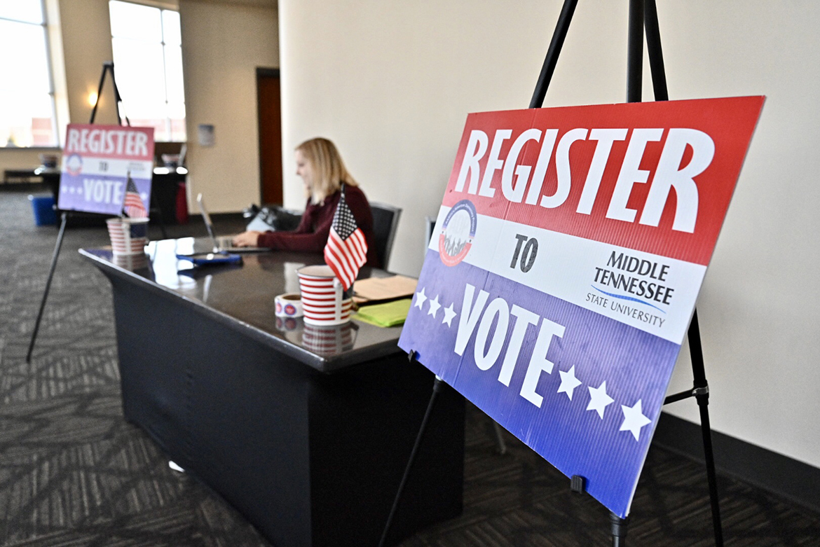 The MTSU chapter of the American Democracy Project staff a voter registration Friday, Feb. 21, as part of the Middle Tennessee Campus Civic Summit 2020 at the Student Union. (MTSU photo by J. Intintoli)