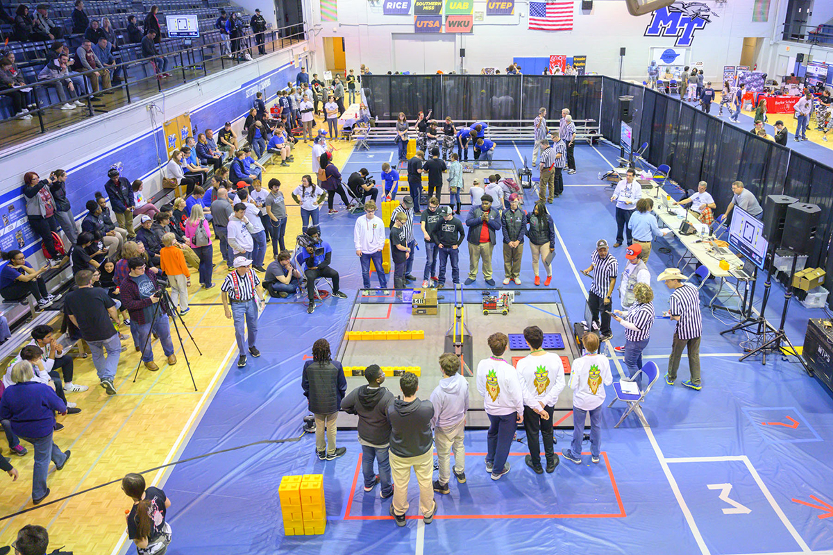 From start to finish, the MTSU Alumni Memorial Gym floor was a buzz of activity Saturday, Feb. 8, during the second TNFIRST First Tech Challenge regional competition. (MTSU photo by Cat Curtis Murphy)