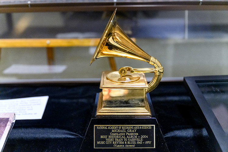 "MTSU alumnus Michael Gray's (B.S. '92, M.S. '97) Best Historical Album Grammy, received in 2005 for co-producing ""Night Train to Nashville: Music City Rhythm & Blues, 1945–1970,"" is included in ""A Legacy of Excellence: MTSU at the Grammys,"" an exhibit on display at the university's James E. Walker Library through the end of February. (MTSU photo by J. Intintoli)"
