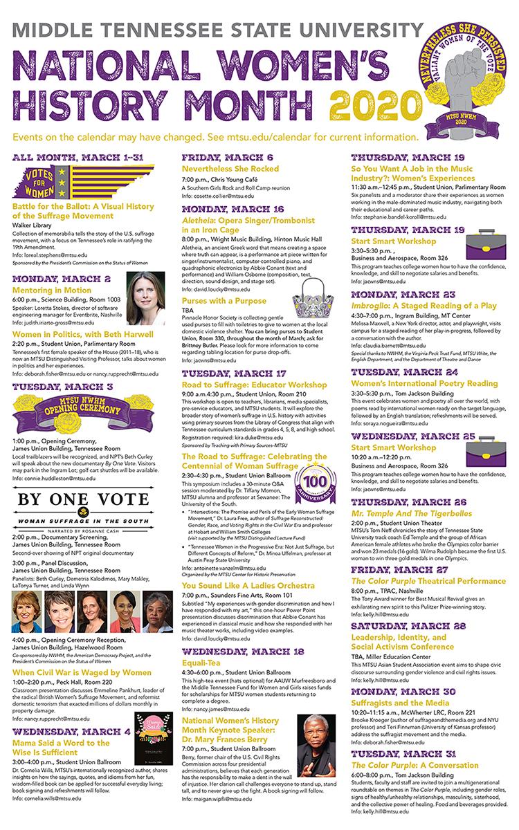 MTSU 2020 National Women's History Month calendar