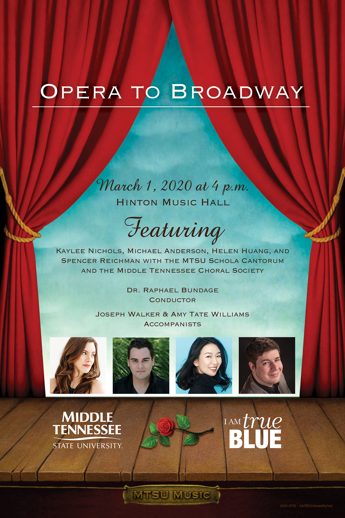 """Poster for the 2020 """"Opera to Broadway"""" concert featuring the MTSU Schola Cantorum, Middle Tennessee Choral Society and guest artists from the Nashville Opera."""