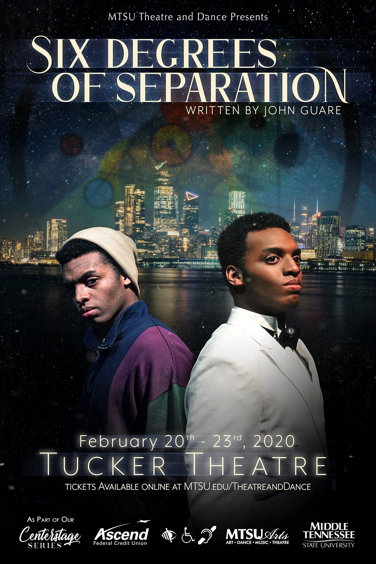 """poster for MTSU Theatre production of """"Six Degrees of Separation,"""" set Feb. 20-23, 2020, in Tucker Theatre"""