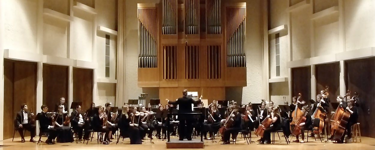 The MTSU Symphony Orchestra, conducted by professor Carol Nies at center, performs in Hinton Hall inside the university's Wright Music Building in this 2017 file photo. (MTSU file photo)