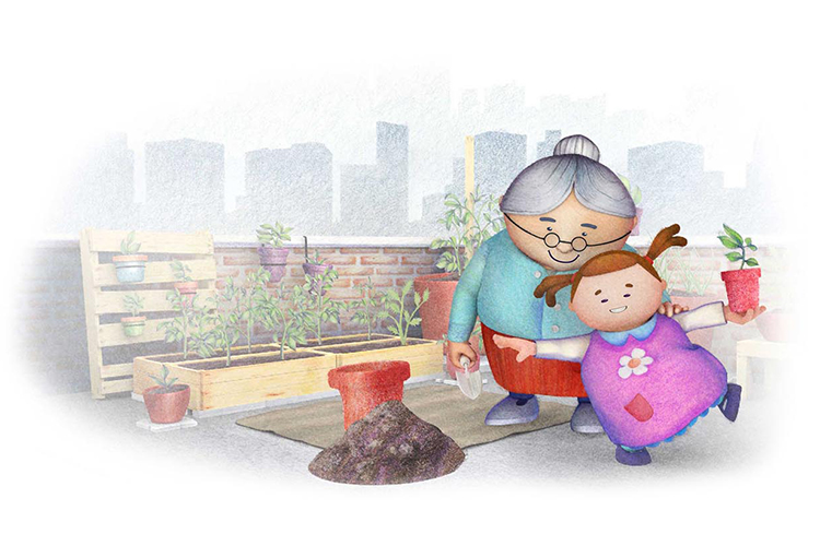 "Milly and her grandma learn and play in their rooftop garden in this illustration from MTSU animation professor Rodrigo Gomez's new children's book, ""Milly & Roots: The Headscarf."""