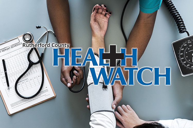 """""""Rutherford County Health Watch"""" logo superimposed over a file photo of a nurse checking a patient's health with a blood pressure gauge."""