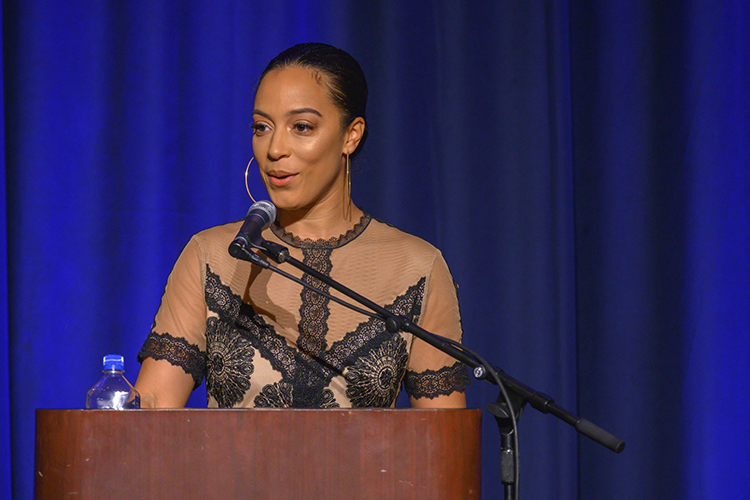 Washington, D.C.-based activist Angela Rye delivers the MTSU Black History Month keynote address Feb. 26 in the Tennessee Room of the James Union Building. Rye also serves as a political commentator for CNN and political analyst for National Public Radio. (MTSU photo by Cat Curtis Murphy)