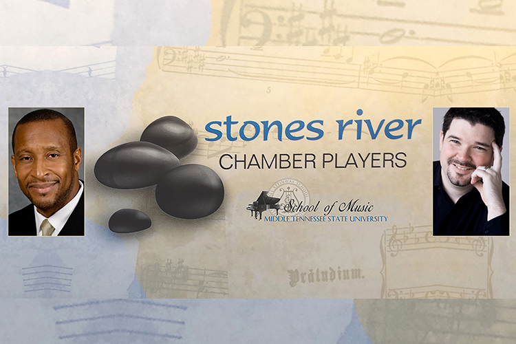 Stones River Chamber Players logo with MTSU School of Music logo, accompanied by photos of music professors Cedric Dent and Paul Osterfield