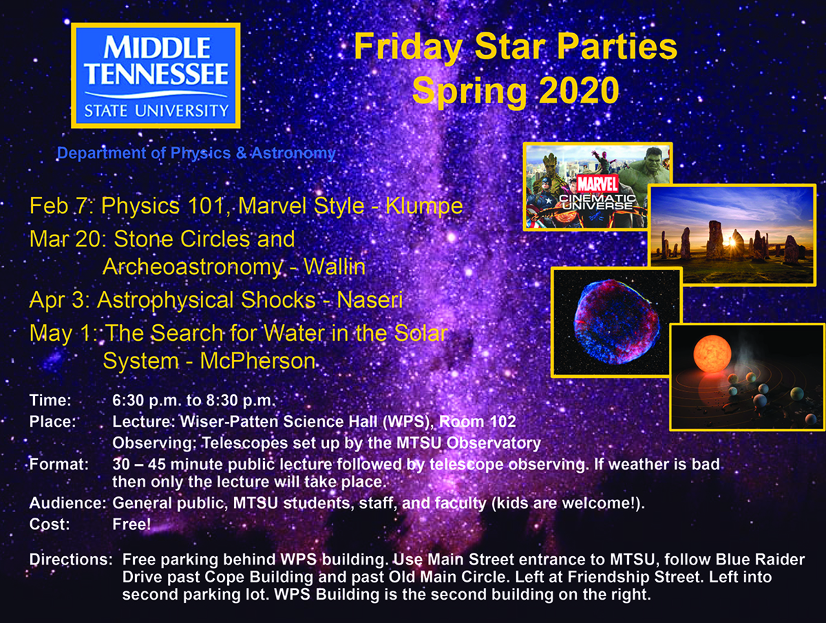 Spring 2020 MTSU Star Party graphic