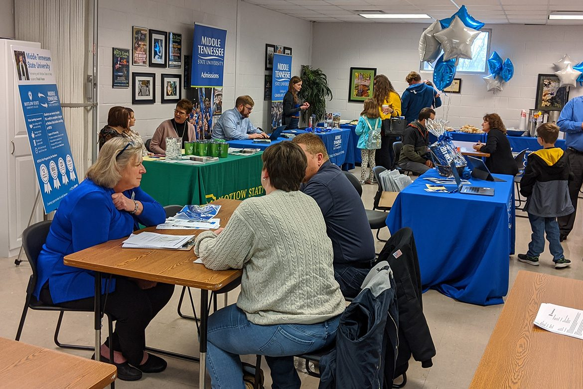 MTSU representatives speak to a prospective students at the Finish Your Degree event held Feb. 6 at the D.W. Wilson Community Center in Tullahoma, Tenn. (MTSU photo by Hunter Patterson)