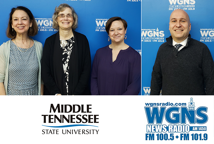 MTSU faculty and staff appeared on WGNS Radio recently to share information with host Bart Walker. Pictured are, from left, Mary Evins, an associate research professor in MTSU's University Honors College and coordinator for the campus chapter of the American Democracy Project; Antoinette Van Zelm, assistant director of the MTSU Center for Historic Preservation; Maigan Wipfli, new director of the June Anderson Center for Women and Nontraditional Students and co-chair of MTSU National Women's History Month Committee; and Jason Martin, interim dean of James E. Walker Library, (MTSU photo illustration by Jimmy Hart)