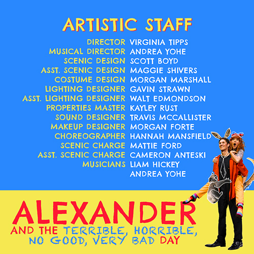 "Click on the image to see the complete program for MTSU's canceled spring 2020 musical, ""Alexander and the Terrible, Horrible, No Good, Very Bad Day."""