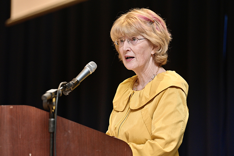 """Nashville Public Television Producer Emerita Beth Curley introduces the NPT documentary """"By One Vote: Woman Suffrage in the South,"""" which was shown for only the second time at the MTSU National Women's History Month opening ceremony March 3 in the James Union Building. (MTSU photo by Andy Heidt)"""