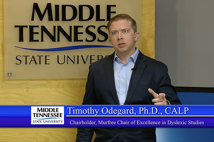 This computer screen capture shows Tim Odegard, who holds the Katherine Davis Murfree Chair of Excellence in Dyslexic Studies at MTSU, moderating the March 21 Fox Reading Conference hosted by the Tennessee Center for the Study and Treatment of Dyslexia at MTSU via videoconferencing. (Image courtesy of MTSU Livestream)