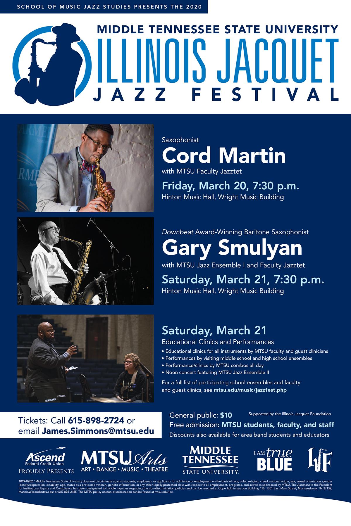 MTSU 2020 Illinois Jacquet Jazz Festival poster