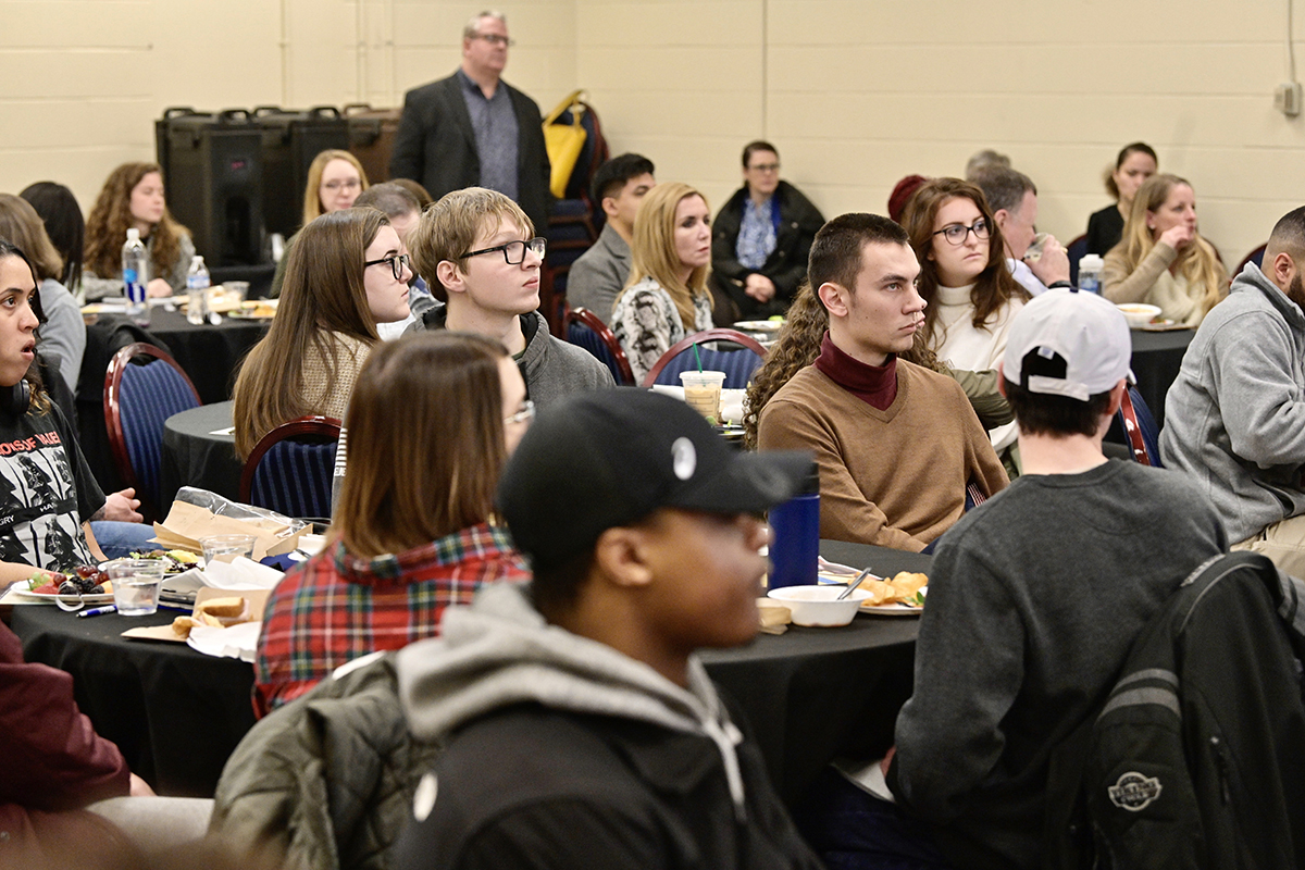 With about 70 MTSU students attending, the Charlie and Hazel Daniels Veterans and Military Family Center sponsored a luncheon event where they could learn about FBI career opportunities in February 2020, just before the COVID-19 pandemic The center is a one-stop-shop to meet a wide range of academic, career and social needs. (MTSU file photo by Andy Heidt)