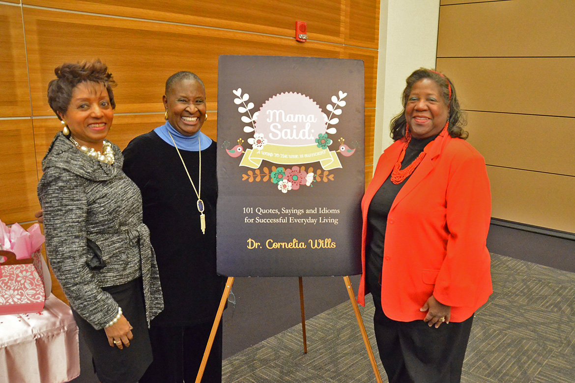 "From left, MTSU Director of Student Success Cornelia Wills poses with MTSU Dean Emeritus Gloria Bonner and Trevor Hort on Wednesday, March 4, in the MTSU Student Union Ballroom after Wills' ""Mama Said: A Word to the Wise is Sufficient"" book signing event. The event was part of MTSU's National Women's History Month celebration. (MTSU photo by Carl Coates Jr.)"