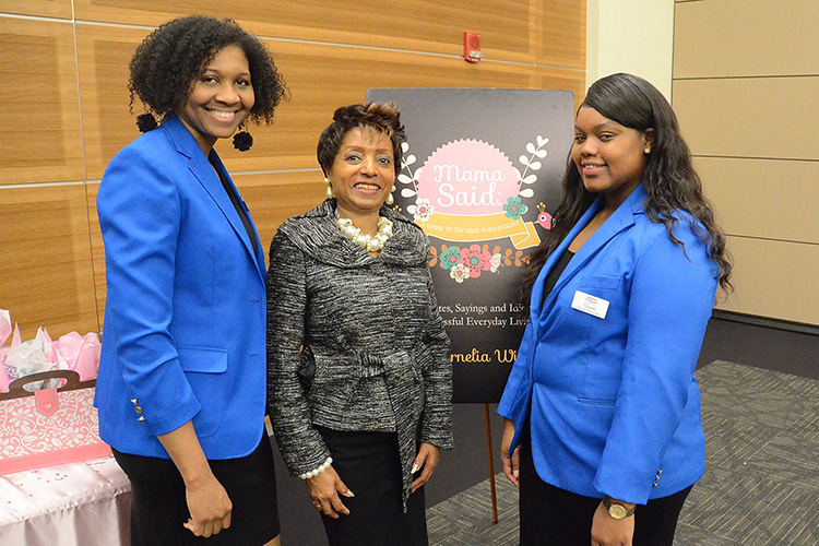 "MTSU Director of Student Success Cornelia Wills, center, takes a photo with MTSU student ambassadors Jewel Wallace-McLeod, left, and Cassidy Lauderdale during Wills' ""Mama Said: A Word to the Wise is Sufficient"" book signing event Wednesday, March 4, in the MTSU Student Union Ballroom. The event was part of MTSU's National Women's History Month celebration. (MTSU photo by Carl Coates Jr.)"