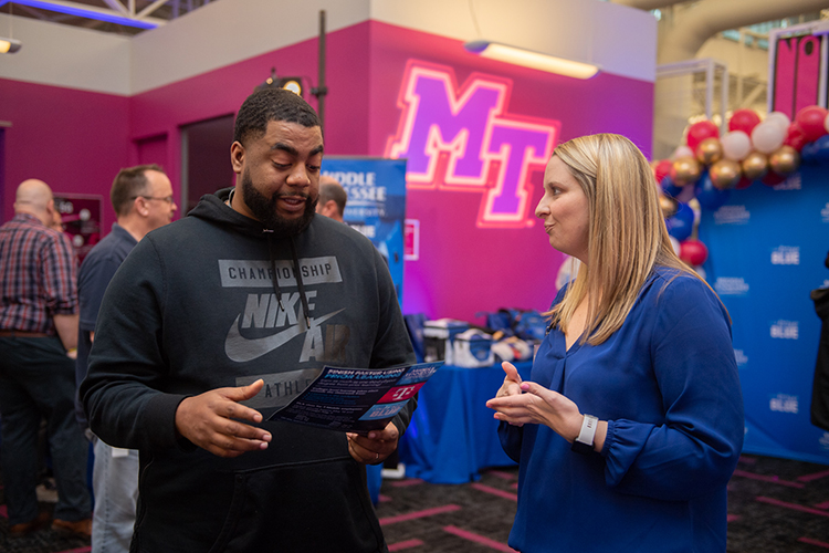MTSU's University College holds a recruiting event at the T-Mobile call center in Nashville, Tenn., on Tuesday, March 10. (MTSU photo by James Cessna)