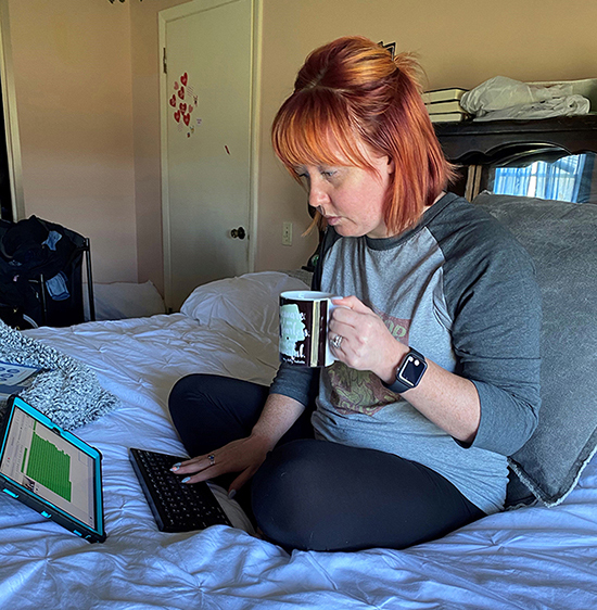 MTSU graduate student Allie Haslett of Smyrna, Tenn., tutors students online through the university's Margaret H. Ordoubadian University Writing Center. All UWC tutors are working remotely due to the COVID-19 outbreak. Haslett, a master's degree candidate in the criminal justice administration program, has worked for the UWC for two semesters. (Photo submitted)