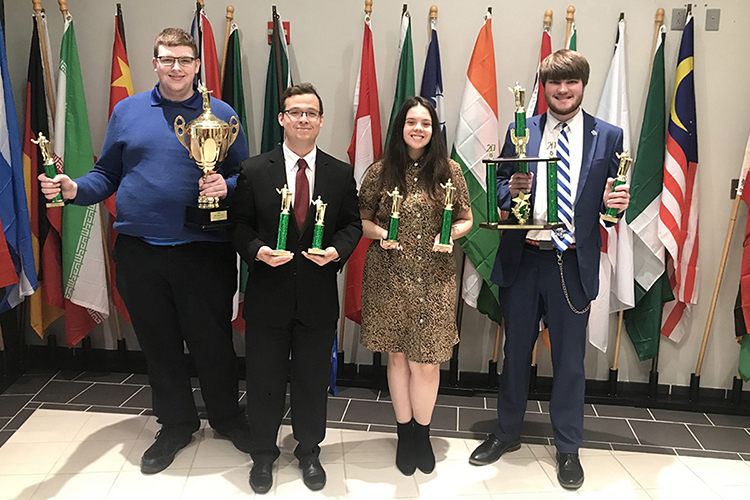 Members of the MTSU debate team pose with their awards March 1 at Arkansas Tech University's debate tournament in Russellville, Ark. From left, Nick Ged, a sophomore psychology major from Smyrna, Tenn.; Graham Christophel, a sophomore international relations major from Morristown, Tenn.; Anastasia Ortiz, a sophomore double major in biochemistry and political science from Gatlinburg Tenn.; and Jonny Locke, a junior communication studies major from Talbott, Tenn. (Photo submitted)