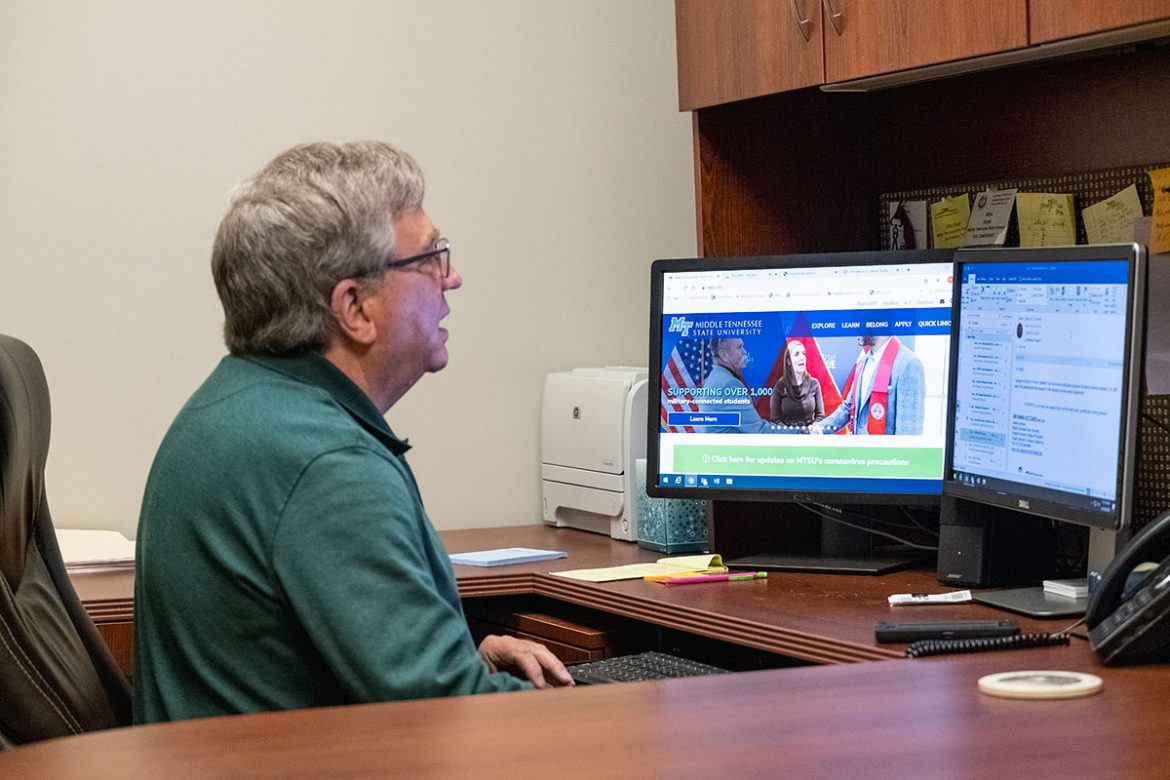 MTSU university studies professor Mike Boyle reviews the university's website in preparation for teaching his classes remotely. MTSU decided to begin offering its current in-person classes remotely beginning March 23 to help keep students, faculty and staff safer during the novel coronavirus, or COVID-19, pandemic. (MTSU photo)