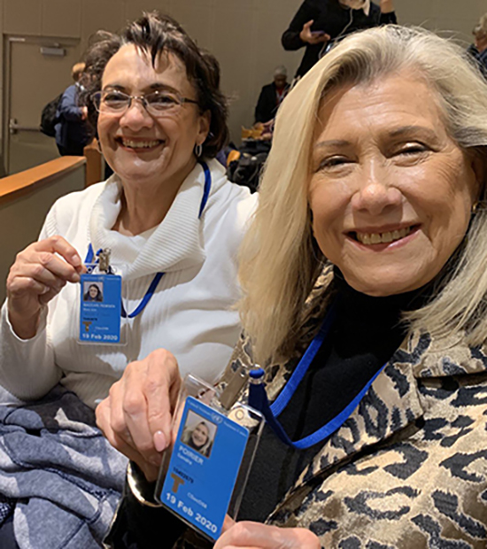Sandra Poirier, right, professor of nutrition and food science at MTSU, shows off her credentials at the 58th session of the United Nations Commission for Social Development held in February in New York. At left is Mary Ann Remsen, an adjunct faculty member in the College of Doctoral Studies at Grand Canyon University in Phoenix, Ariz. (Photo submitted)