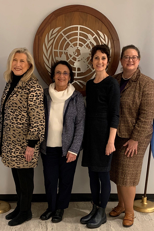 Sandra Poirier, left, a professor of nutrition and food science at MTSU, poses with colleagues at the 58th session of the United Nations Commission for Social Development held in February in New York. From Poirier's left are Mary Ann Remsen, senior adjunct chair, Grand Canyon University, Phoenix, Ariz.; Peggy O'Neil, lecturer and adjunct research professor of human ecology, Brescia University College, London, Ontario, Canada; and Gwendolyn Hustvedt, acting president of the International Federation for Home Economics and a professor of textiles at Texas State University, San Marcos, Texas. (Photo submitted)
