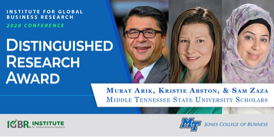 Murat Arik, Ph.D., left, director of MTSU's Business and Economic Research Center, was honored with Institue for Global Business Research's 2020 Distinguished Research Award for his scholarly research article, along with fellow co-authors from MTSU's Jones College of Business: Kristie Abston, Ph.D.(Management) and Sam Zaza, Ph.D. (Information Systems and Analytics). (Submitted illustration)