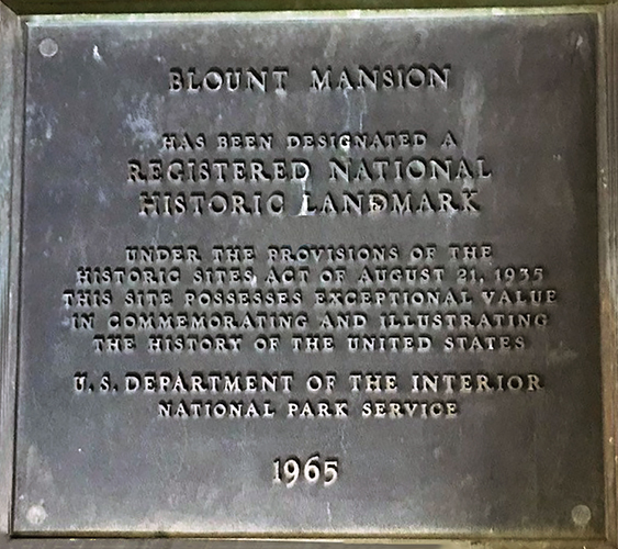 This photo shows the 1965 plaque designating Blount Mansion, the Knoxville home of William Blount, signer of the U.S. Constitution and one of Tennessee's first senators, as a National Historic Landmark by the National Park Service. Tennessee State Historian Carroll Van West, MTSU history professor and director of the university's Center for Historic Preservation, is the newest appointee to the National Historic Landmarks Committee. The committee recommends new sites to the park service board each year. (Photo courtesy of Blount Mansion)