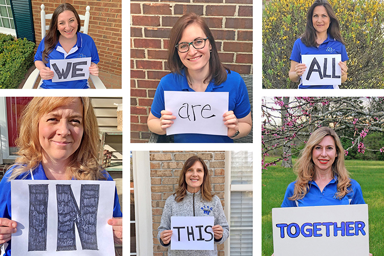 "MTSU Counseling Services staff are pictured in this photo illustration showcasing a message of ""We are all in this together"" as the university community continues under the state's stay-at-home order. Counseling Services is offering a series of Zoom workshops, access to online self-help tutorials and counseling session by phone. Pictured, top row, left to right, are: Virginia Lowery, associate director; Melanie Magliacano, counselor; and Carolyn Jackson, counselor; and bottom row, left to right, are Heidi Buckalew, office supervisor; Dr. Libby DeMarco, psychiatrist; and Dr. Mary Kaye Anderson, director. (Photo courtesy of MTSU Counseling Services)"