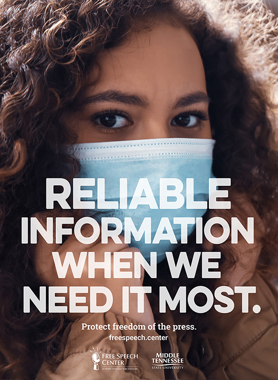 This ad from the Free Speech Center at Middle Tennessee State University is part of a new public service campaign to encourage public support for local media outlets providing regular, reliable information about the COVID-19 pandemic. Click through to see more of the ads.