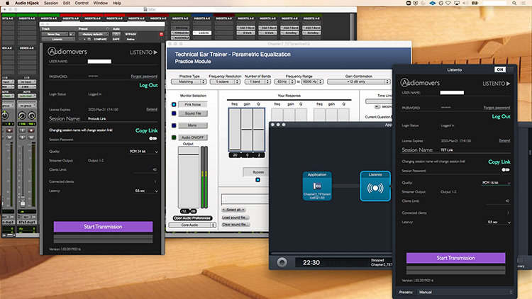 This screen grab displays the wide array of windows students in Michael Hanson's digitally revised Critical Thinking classes can see on their monitors. From left, a ProTools mixing board; the Listento plugin with a link to ProTools; Technical Ear Trainer software; Audio Hijack, which allows students who cannot download Listento to grab programs; and a Listento plugin with a link to Technical Ear Trainer. (Image submitted)