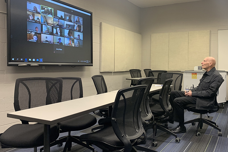 Keith Huber, right, senior adviser for veterans and leadership initiatives, teaches his Applied Leadership class via Zoom videoconferencing recently as part of the university's switch to remote learning in response to the coronavirus outbreak. (MTSU photo by Hilary Miller)