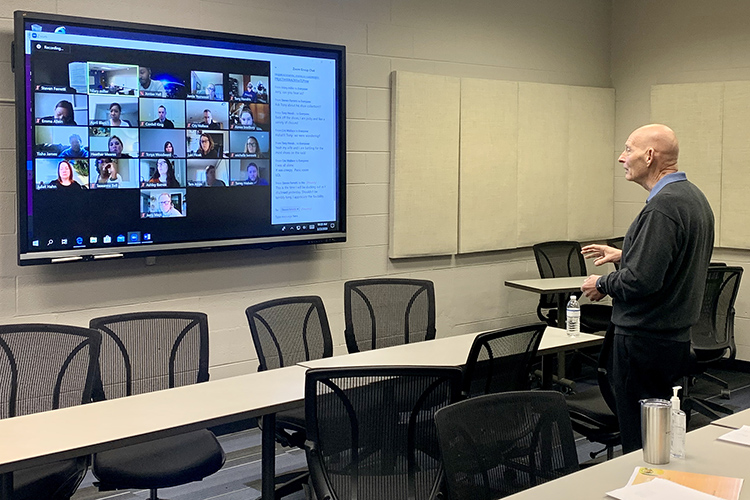 Keith Huber, right, senior adviser for veterans and leadership initiatives, teaches his Applied Leadership class via Zoom videoconferencing recently as part of the university's switch to remote learning in response to the coronavirus outbreak. (MTSU photo by Hunter Patterson)