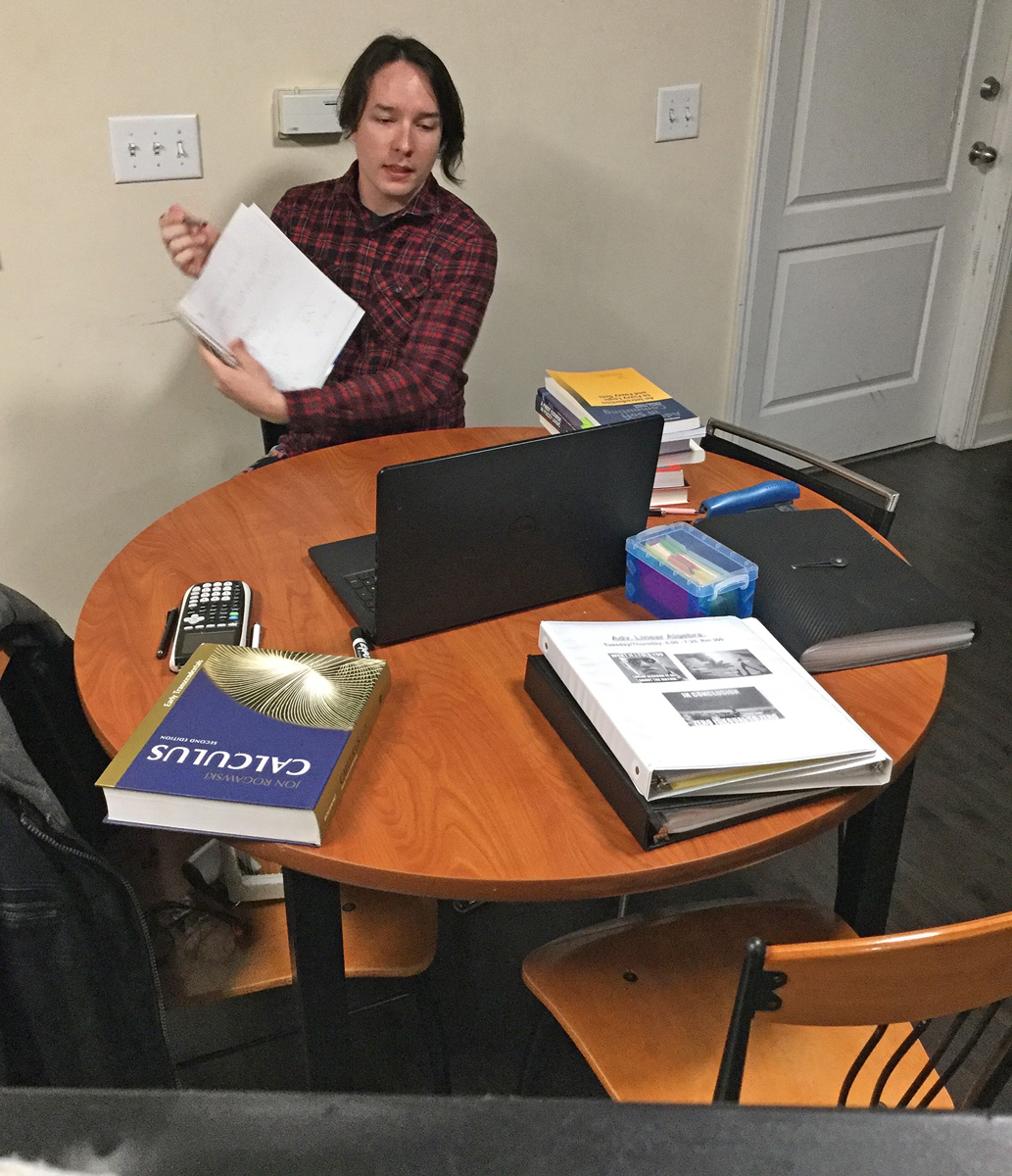 College of Basic and Applied Sciences graduate student Zach Thomas helps tutor an undergraduate student in Calculus I during a remote session Thursday, April 2, from his home. He is one of 170 tutors and 30 supplemental instructors offering assistance in 200 courses campuswide. (Submitted photo by Zach Thomas)
