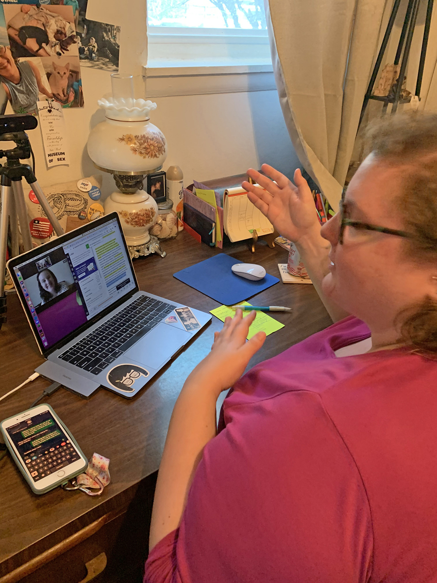 From her home office, MTSU University College graduate assistant and tutor Quinlan Odom helps answer a student's questions about her history course as part of the remote sessions now through the end of the spring semester. (Submitted photo by Quinlan Odom)
