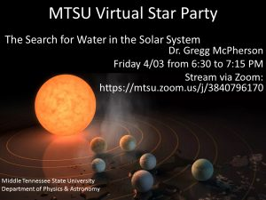 Lecturer's MTSU Virtual Star Party zeros in on 'Search for Water in Solar System'
